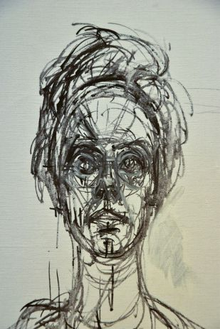 Carolina sobre fondo blanco (zoom sur le visage)) - Alberto Giacometti