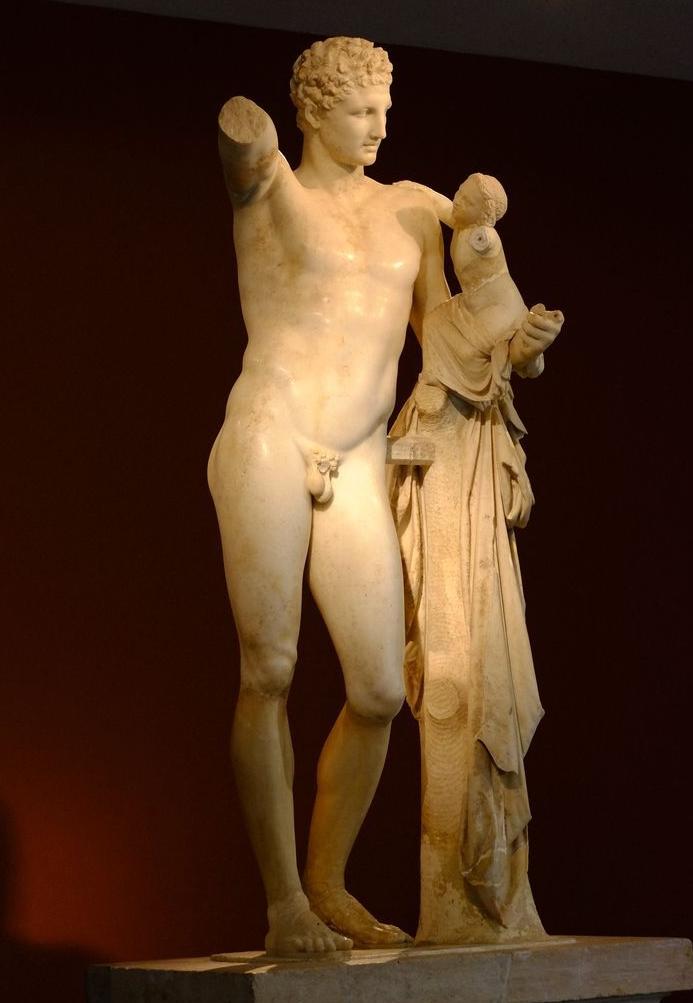 Hermès de Praxitèle qui tient un nouveau-né : Dionysos
