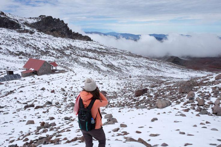 Les nuages nous bloquent la vue depuis le haut du Chimborazo