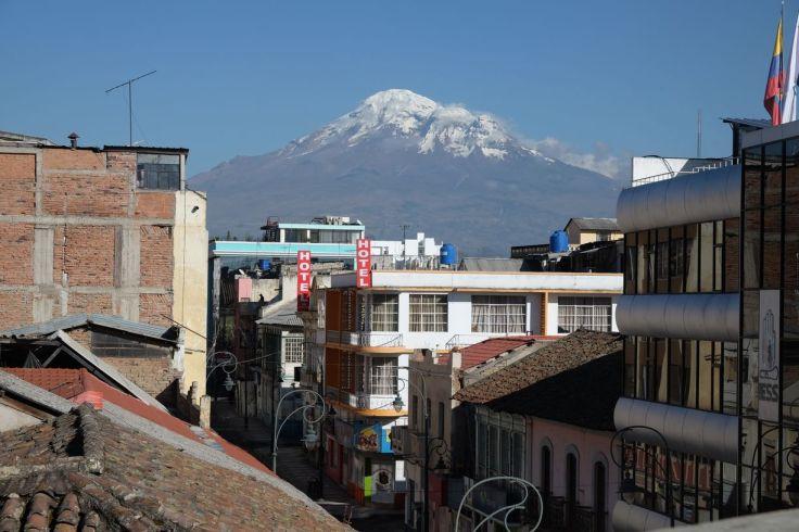 La vue depuis l'hotêl sur le Chimborazo